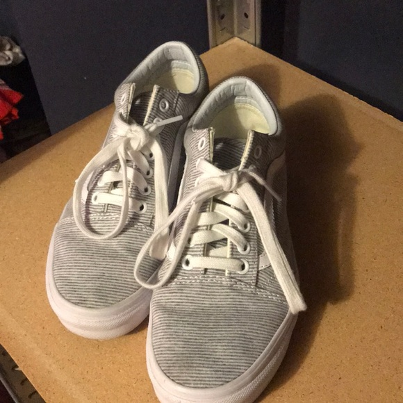 Vans Shoes | Gray And White Striped